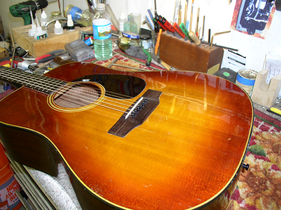 Gibson SJ Deluxe Acoustic Guitar Repair (Bridge & Face)